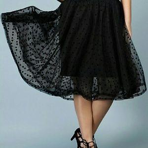 TORRID Black Polka Dot Tulle Overlay Midi Skirt 1